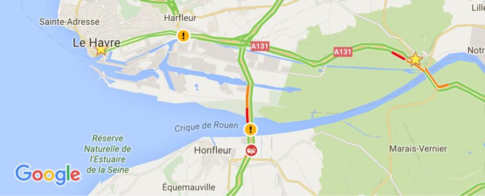 Le pont de Normandie fermé : la circulation vers Honfleur est déviée par le pont de Tancarville