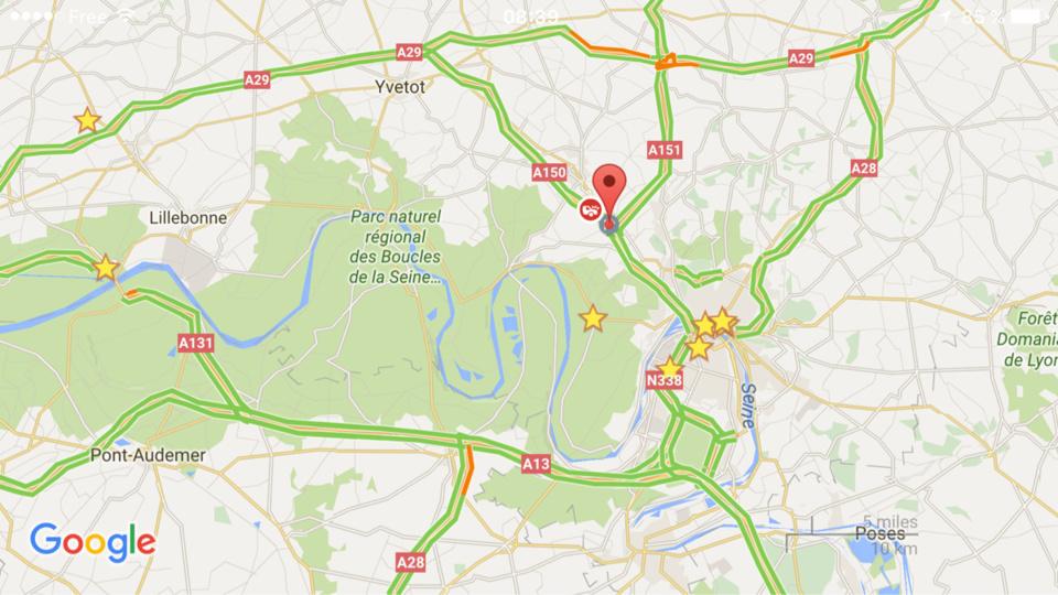 Accident sur l'A150, circulation perturbée en direction de Rouen