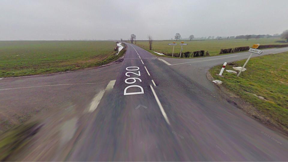 L'accident s'est produit à cette intersection en pleine campagne du pays de Bray (illustration@Google Maps)