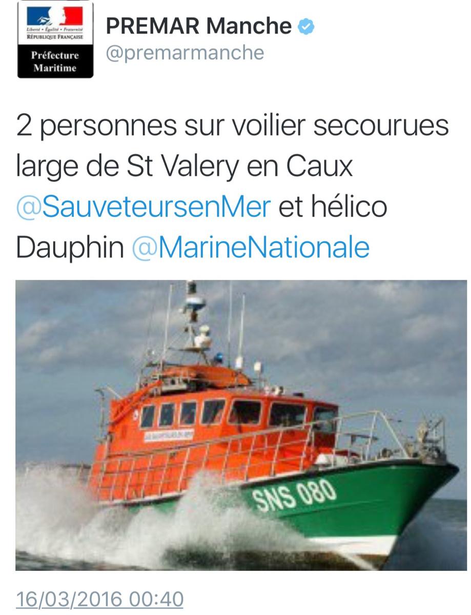 Leur voilier coule au large de Saint-Valery-en-Caux, les deux plaisanciers sont sains et saufs