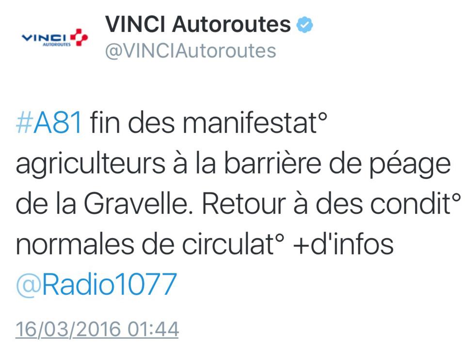 Manifestations d'agriculteurs cette nuit à Laval et sur l'A81 en Mayenne