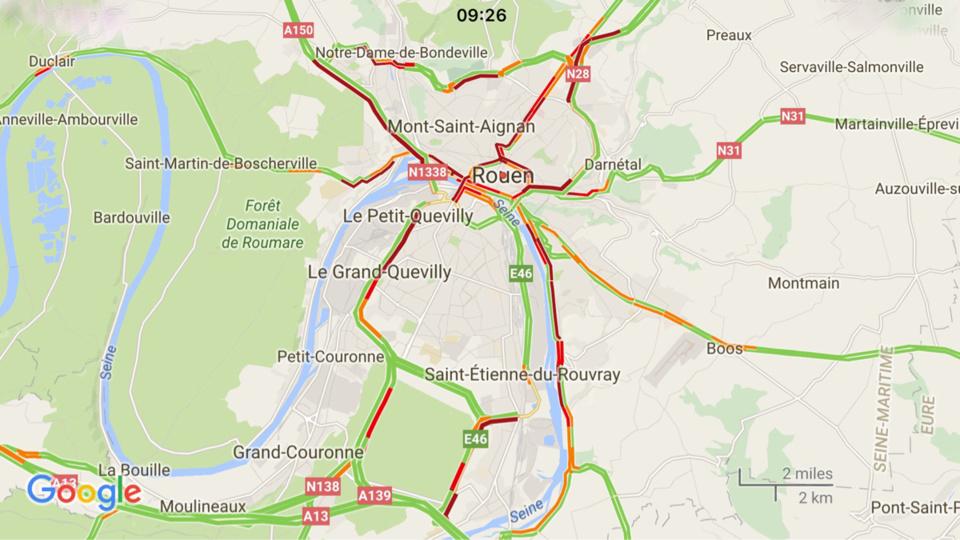 Manifestations : circulation paralysée ce matin à Rouen