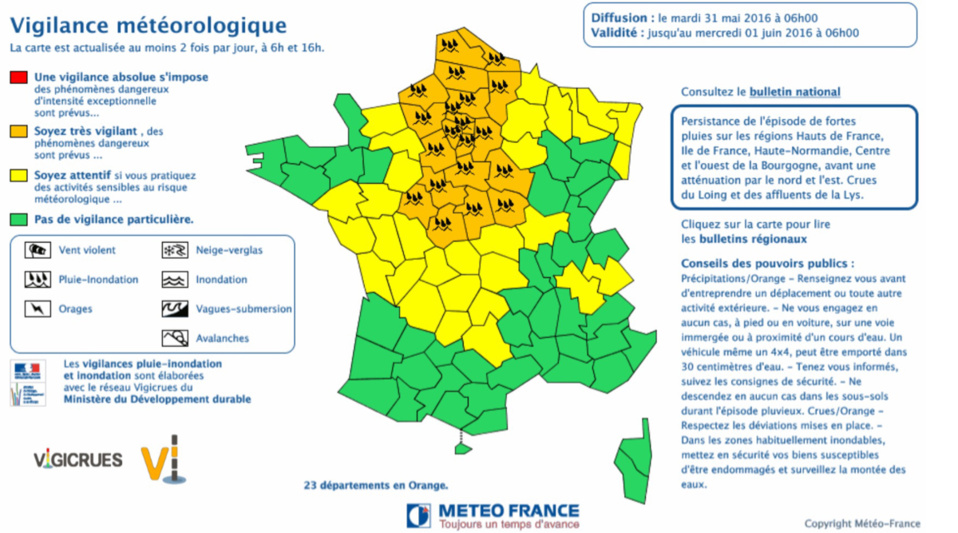 Pluie et inondation : la Seine-Maritime et l'Eure maintenus en vigilance orange