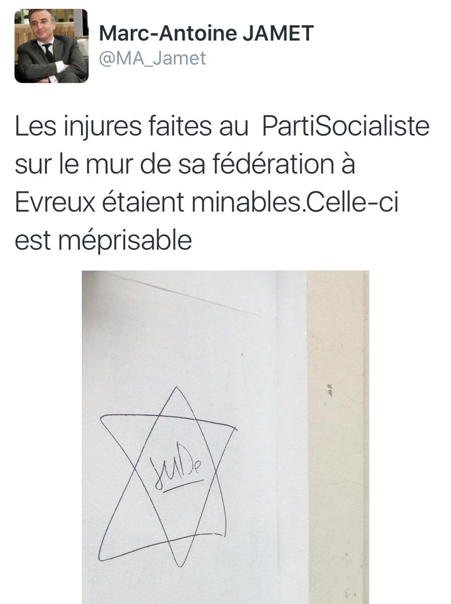 Tags racistes et antisémites sur la permanence du PS à Évreux : un SDF identifié et interpellé
