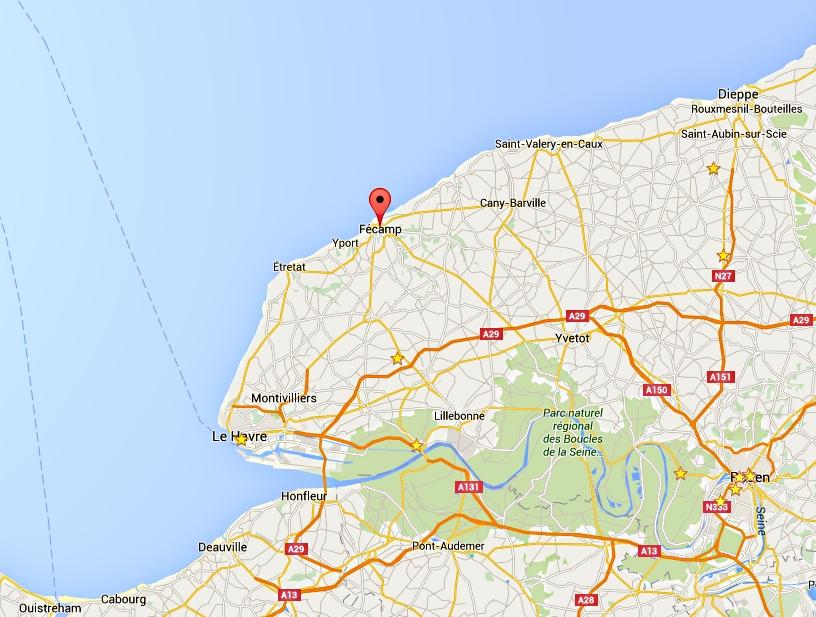 La collision s'est produite à environ 13 kilomètres au large de Fécamp (Seine-Maritime)