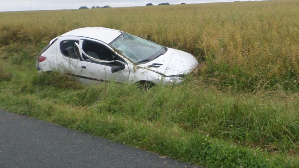 La 206 s'est immobilisée sur ses roues dans un champ en bordure de la route (Photo@DR)