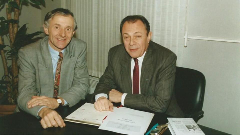 Dominique Gambier ici avec Michel Rocard (Photo@Journal Politique de Dominique Gambier)