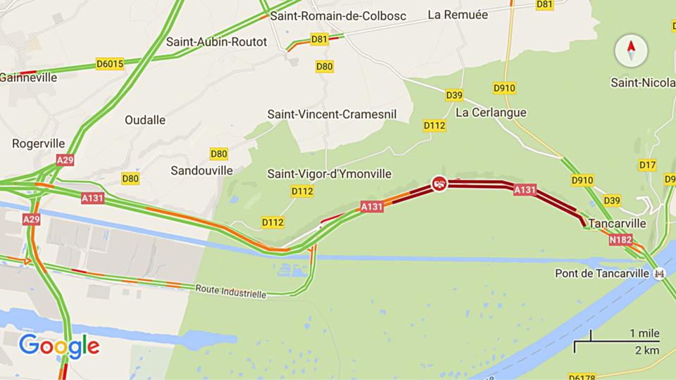 Un motard grièvement blessé sur l'A131 entre Tancarville et le Havre : la victime est héliportée