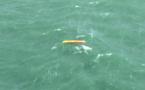 Le kayakiste en grande difficulté a été localisé par l'équipage de l'hélicoptère de la Marine nationale au large des Petites Dalles - Photo © Marine nationale