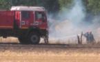 Les sapeurs-pompiers combattent un feu de chaume - Illustration @ infoNormandie