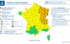 Carte de vigilance publiée ce matin par Météo France