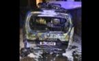 Le véhicule des gendarmes a été détruit par le feu - Photo @ gendarmerie de Bernay