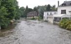 Le débit de l'Eure à Pacy-sur-Eure, est très important mais le niveau s'est stabilisé (Photo@infoNormandie)