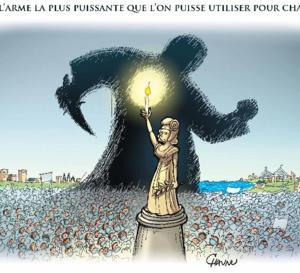"""La région Normandie affiche un dessin de Chaunu à Rouen et Caen pour """"la liberté d'expression"""""""