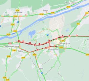 Accidents sur l'A13 : autoroute fermée et trafic très perturbé entre Les Mureaux et Mantes