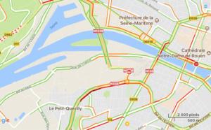 Camion couché entre le rond-point de la Motte et le pont Flaubert à Rouen : la RN1338 coupée et déviée