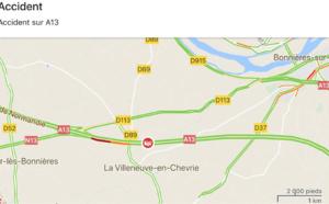 Circulation très perturbée sur l'A13 entre Chaufour et Mantes à cause d'un camion couché sur les voies