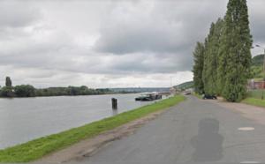 Quai Lescure à Amfreville-la-Mi-Voie : c'est lea seconde fois en une semaine que la péniche Isabelle est la proie des flammes - Illustration © Google Maps