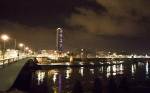 A Rouen, la Tour des Archives affiche le 36 37 pour le Téléthon