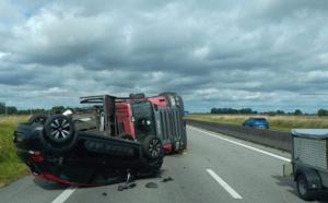 Un camion couché sur le flanc dans l'Eure : l'A28 coupée entre Bourg-Achard et Brionne