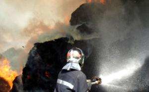 Les sapeurs pompiers ont mis en oeuvre trois lances à incendie - Illustration