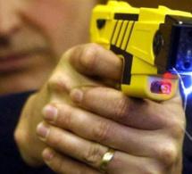 Chien policier et pistolet à impulsion électrique pour maîtriser un perturbateur violent à Oissel