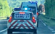 Eure : la voiture s'immobilise 20m en contrebas de la route, trois blessés, dont un grave