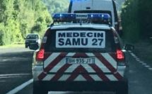 Cinq blessés, dont un grièvement, dans une collision entre deux véhicules sur une route de l'Eure