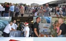 Des avions de collection et l'hélicoptère de la Marine nationale exposés sur l'aérodrome de Bréville (Manche)